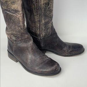 Steve Madden distressed black & brown riding boot